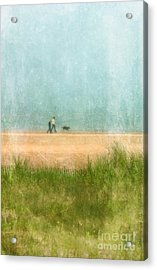 Couple On Beach With Dog Acrylic Print by Jill Battaglia