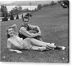 Couple On Lawn Acrylic Print by George Marks