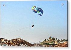 Couple Parasailing Over Shacks Goa Acrylic Print by Kantilal Patel