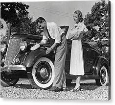 Couple Polishing Car Acrylic Print by George Marks