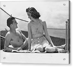 Couple Relaxing On A Sailboat Acrylic Print by George Marks