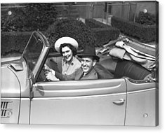 Couple Riding In Old Fashion Convertible Car, (b&w),, Portrait Acrylic Print by George Marks