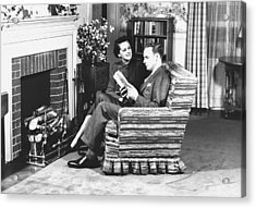 Couple Sitting On Armchair In Front Of Fireplace, (b&w) Acrylic Print by George Marks