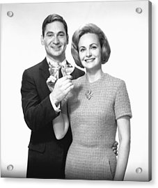 Couple Toasting Champagne In Studio, (b&w),, Portrait Acrylic Print by George Marks
