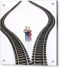 Couple Two Figurines Between Two Tracks Leading Into Different Directions Symbolic Image For Making Decisions Acrylic Print