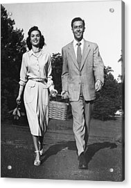 Couple W/ Picnic Basket Acrylic Print by George Marks