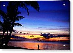 Couple Walking Along Beach At Sunset, Fiji Acrylic Print by Peter Hendrie