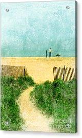 Couple Walking Dog On Beach Acrylic Print by Jill Battaglia