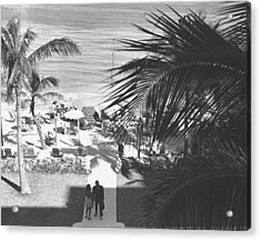 Couple Walking In Path Towards Beach, (b&w), Elevated View Acrylic Print by George Marks