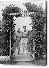 Couple Walking On Footpath Towards Rose Covered Pergola, (b&w) Acrylic Print by George Marks