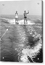 Couple Water Skiing Acrylic Print by George Marks