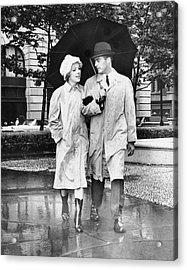 Couple W/umbrella Walking In The Rain Acrylic Print by George Marks