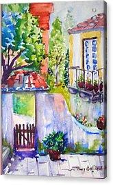 Courtyard In Sintra Acrylic Print by Nancy Brennand