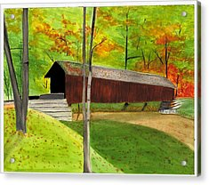 Covered Bridge 1 Acrylic Print by David Bartsch