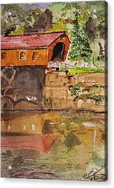 Covered Bridge And Reflection Acrylic Print by Phyllis Barrett
