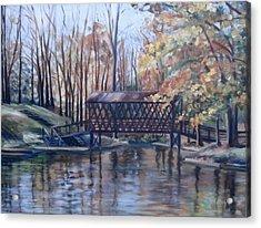 Covered Bridge At Lake Roaming Rock Acrylic Print by Donna Tuten