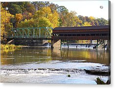 Covered Bridge Fishing Acrylic Print by Kevin Schrader