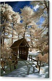 Covered Bridge In Snow Acrylic Print