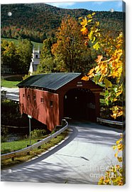 Covered Bridge In Vermont Acrylic Print by Rafael Macia and Photo Researchers
