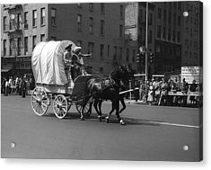 Covered Wagon On Street During Parade Acrylic Print by George Marks