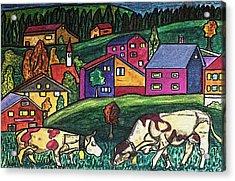 Cow Art Acrylic Print by Monica Engeler