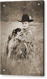 Cowboy And Dog Acrylic Print by Cindy Singleton