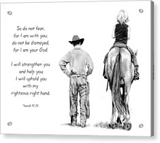 Cowboy And Rider With Bible Verse Acrylic Print by Joyce Geleynse