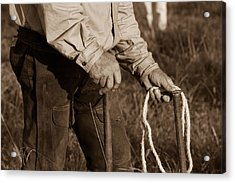 Cowboy Hands At Work Acrylic Print by Toni Hopper