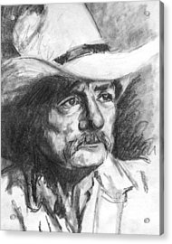 Cowboy In Hat Sketch Acrylic Print by Kate Sumners
