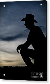 Cowboy Silhouette At Sunset Acrylic Print by Andre Babiak