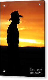 Cowboy Sunset Acrylic Print by Val Armstrong