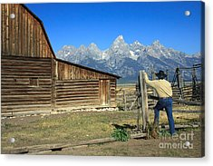 Cowboy With Grand Tetons Vista Acrylic Print by Karen Lee Ensley