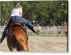 Cowgirl Away Acrylic Print by Lynda Dawson-Youngclaus