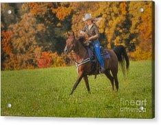 Cowgirl Acrylic Print by Susan Candelario