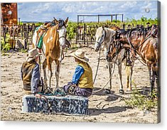 Cowgirls At Rest Acrylic Print by Ralph Brannan