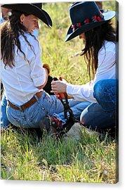 Cowgirls At Work Acrylic Print by Elizabeth Hart