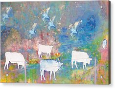 Cows And Birds Acrylic Print by Jeff Burgess