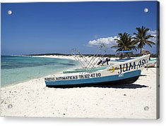 Acrylic Print featuring the photograph Cozumel Mexico Fishing Boats On White Sand Beach by Shawn O'Brien