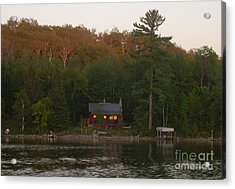 Cozy Cabin Sunset Soaked Acrylic Print