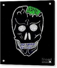 Cracked Skull Black Background Acrylic Print by Jeannie Atwater Jordan Allen