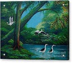 Cranes On The Swamp Acrylic Print