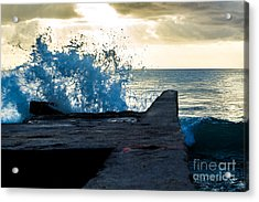 Crashing Blue Acrylic Print by Rene Triay Photography
