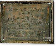 Crawford Scott Historical Marker Acrylic Print by Randy Bodkins
