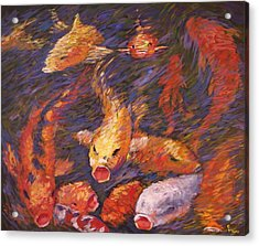 Acrylic Print featuring the painting Crazed Clear Creek Koi by Charles Munn