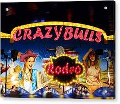 Crazy Bulls Acrylic Print by Charles Stuart