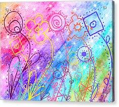 Crazy Flower Garden Acrylic Print by Debbie Portwood