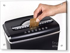 Credit Card Cutting Acrylic Print by Blink Images