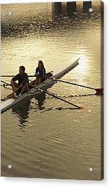 Crew Model Released Rowers Take A Break Acrylic Print by Phil Schermeister