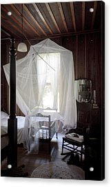 Crib With Mosquito Netting In A Florida Cracker Farmhouse Acrylic Print by Lynn Palmer