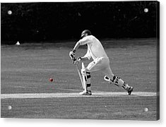 Cricketer In Black And White With Red Ball Acrylic Print